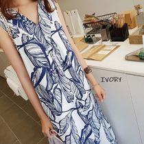 Tropical Patterns Casual Style Maxi A-line Nylon Sleeveless