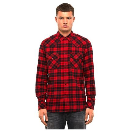DIESEL Other Plaid Patterns Long Sleeves Cotton Street Style Shirts