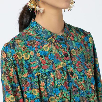 Crew Neck Flower Patterns Tropical Patterns Casual Style