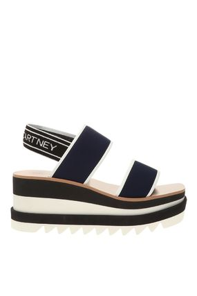Stella McCartney ELYSE Logo Open Toe Platform Plain Platform & Wedge Sandals