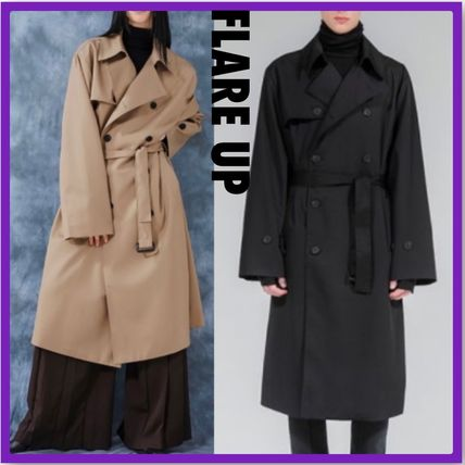 FLARE UP Trench Unisex Street Style Plain Trench Coats