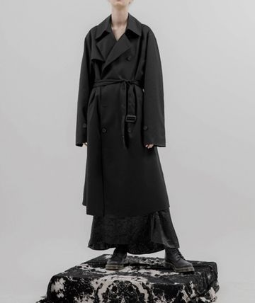 FLARE UP Trench Unisex Street Style Plain Trench Coats 2
