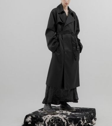 FLARE UP Trench Unisex Street Style Plain Trench Coats 3