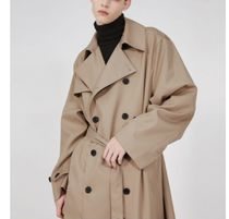FLARE UP Trench Unisex Street Style Plain Trench Coats 9