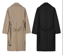 FLARE UP Trench Unisex Street Style Plain Trench Coats 15