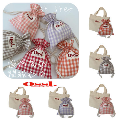 Ossl Totes Gingham Casual Style Canvas Plain Logo Totes