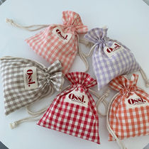 Ossl Gingham Casual Style Canvas Plain Logo Totes