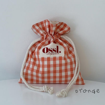 Ossl Totes Gingham Casual Style Canvas Plain Logo Totes 3