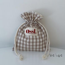Ossl Totes Gingham Casual Style Canvas Plain Logo Totes 4