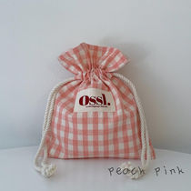 Ossl Totes Gingham Casual Style Canvas Plain Logo Totes 5