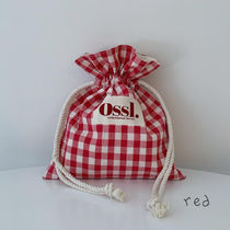 Ossl Totes Gingham Casual Style Canvas Plain Logo Totes 7
