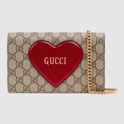 GUCCI Heart Monogram Canvas Leather Chain Wallet Logo Accessories