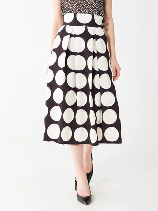 Flared Skirts Dots Casual Style Bi-color Circle Skirts