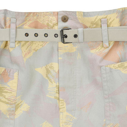 Flower Patterns Linen Cotton Denim & Cotton Shorts