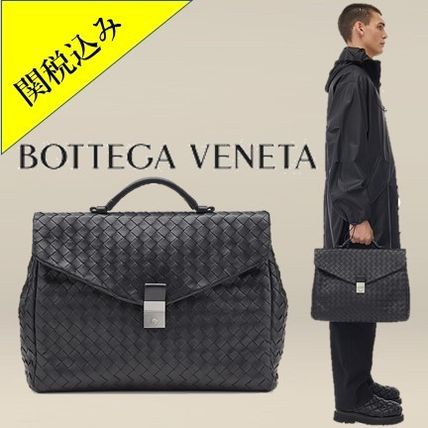 BOTTEGA VENETA Lambskin Plain Leather Business & Briefcases
