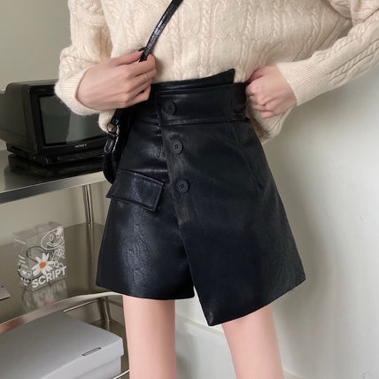Pencil Skirts Short Casual Style Faux Fur