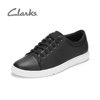 Plain Leather Street Style Sneakers