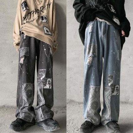 More Jeans Printed Pants Denim Street Style Oversized Jeans