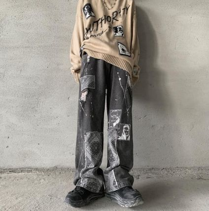 More Jeans Printed Pants Denim Street Style Oversized Jeans 2