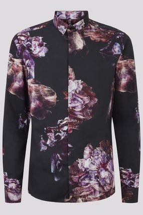 Flower Patterns Street Style Long Sleeves Cotton Shirts