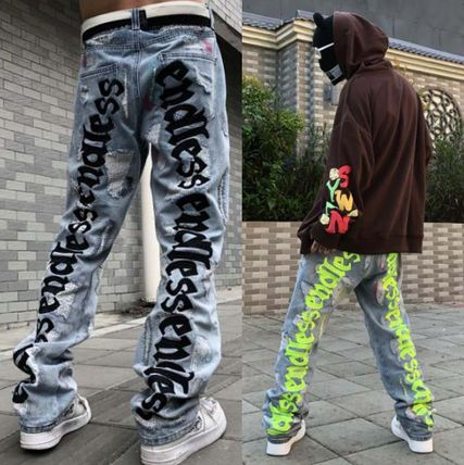 More Jeans Printed Pants Denim Street Style Oversized Logo Neon Color