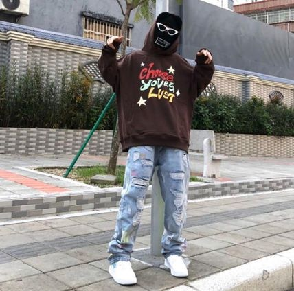 More Jeans Printed Pants Denim Street Style Oversized Logo Neon Color 2