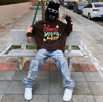 More Jeans Printed Pants Denim Street Style Oversized Logo Neon Color 4