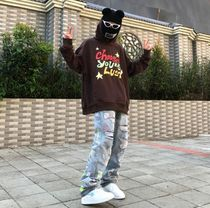 More Jeans Printed Pants Denim Street Style Oversized Logo Neon Color 7