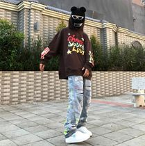 More Jeans Printed Pants Denim Street Style Oversized Logo Neon Color 8