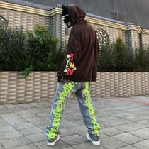 More Jeans Printed Pants Denim Street Style Oversized Logo Neon Color 9