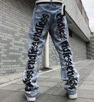 More Jeans Printed Pants Denim Street Style Oversized Logo Neon Color 11