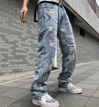 More Jeans Printed Pants Denim Street Style Oversized Logo Neon Color 12