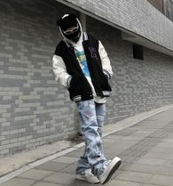 More Jeans Printed Pants Denim Street Style Oversized Logo Neon Color 16