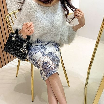 Pencil Skirts Paisley Casual Style Medium Lace Office Style