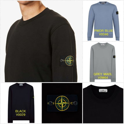 STONE ISLAND Crew Neck Gingham Unisex Sweat Long Sleeves Plain Cotton