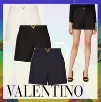 VALENTINO Short Casual Style Wool Blended Fabrics Plain Cotton