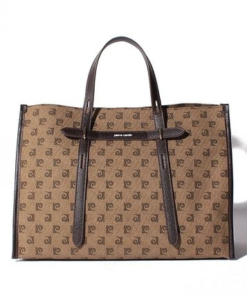pierre cardin Logo Casual Style A4 Leather Office Style Handbags