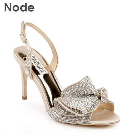 Open Toe Blended Fabrics Plain Leather Pin Heels Party Style