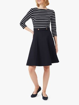 Crew Neck Stripes Casual Style Flared Bi-color Cropped