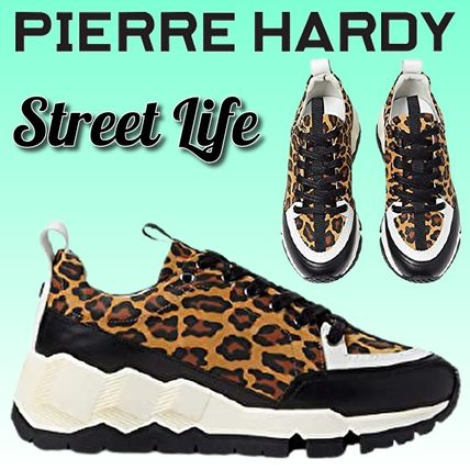 Leopard Patterns Platform Plain Toe Rubber Sole Casual Style