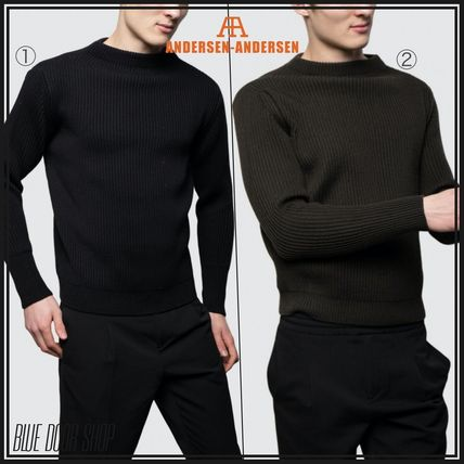 Crew Neck Unisex Wool Street Style Long Sleeves Plain