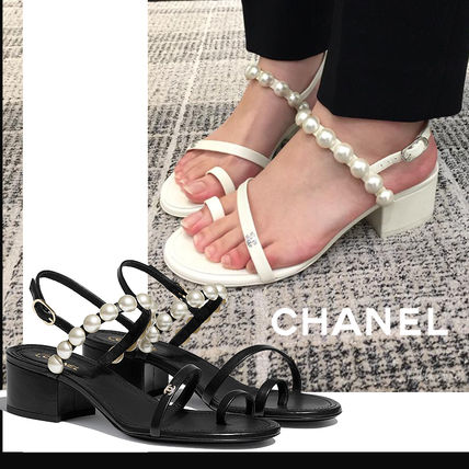 CHANEL Open Toe Casual Style Blended Fabrics Street Style Plain