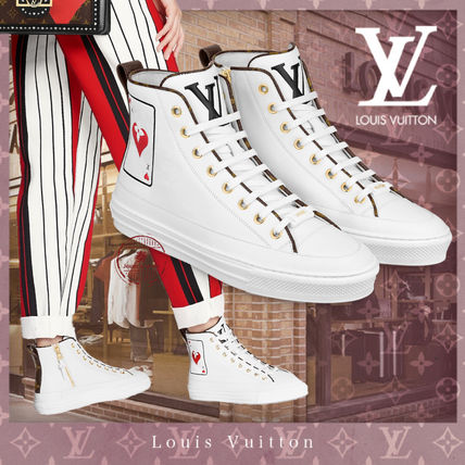 Louis Vuitton Heart Monogram Plain Toe Rubber Sole Casual Style