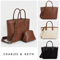 Charles&Keith Casual Style Faux Fur 2WAY Plain Crossbody Formal Style