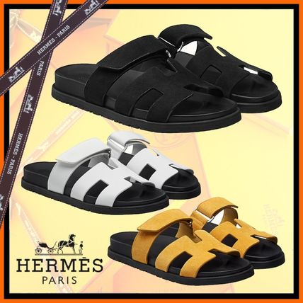 HERMES Rubber Sole Casual Style Suede Plain Logo Sandals