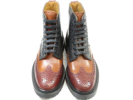 Burberry Wing Tip Plain Toe Leather Engineer Boots