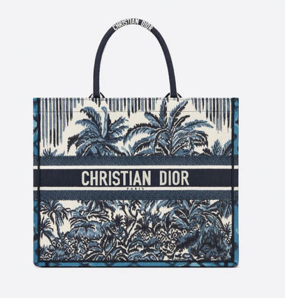 Christian Dior BOOK TOTE Tropical Patterns Casual Style Street Style A4 2WAY Handmade