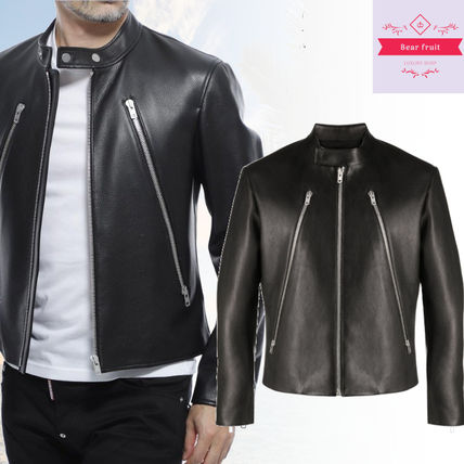 Maison Margiela Short Street Style Plain Leather Biker Jackets