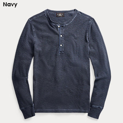 Pullovers Henry Neck Long Sleeves Plain Cotton