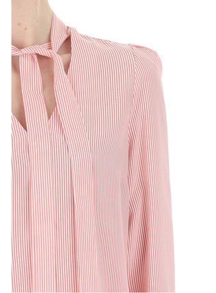 Formal Style  Front Button Stripes Casual Style Silk